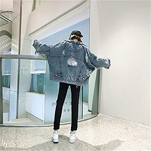 Di Single Bavero Breasted Anteriori Stlie Lunga Cappotto Autunno Baggy Blu Giacca Grazioso Donna Corto Giubotto Strappato Giovane Elegante Moda Manica Invernali Jeans Tasche Giacche qSvOxHw