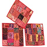 Mogul 3pc Cushion Covers Vintage Red Patchwork Decorative Pillow Cover 16 x 16