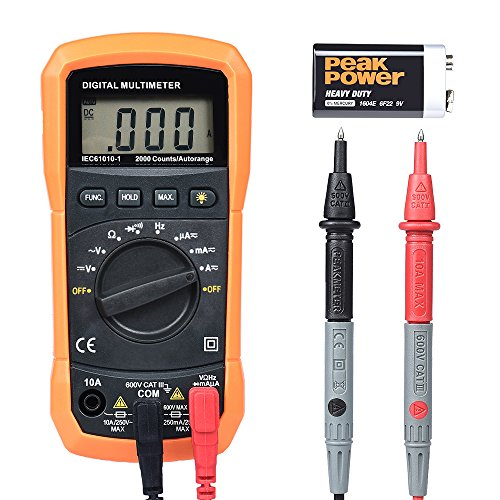 Digital Multimeter, BEBONCOOL Auto-Ranging AC DC Voltmeter, Electronic Amp Volt Ohm Voltage Tester with Diode and Continuity Test Scanners, Backlight LCD Display (Orange) by BEBONCOOL