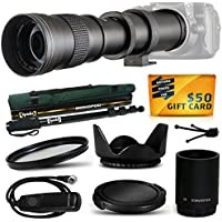 Opteka 420-1600mm f/8.3 HD Telephoto Zoom Lens Bundle Package includes 2X Teleconverter + Opteka MP100 67 Professional Heavy Duty Photo / Video Monopod + UV Ultra Violet Filter + Tulip Hood + Snap On Lens Cap + Remote Shutter Release Control + Air Dust Blower + Lens Cleaning Kit for Digital Photo Prints for Canon EOS Rebel 1Ds 1Dx 1D Mark 2 3 4 II III IV, 5D Mark 2 3 II III, 6D, 7D, 10D, 20D, 20Da, 30D, 40D, 50D DSLR SLR Digital Camera