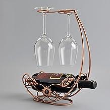 Creative Wrought Iron Wine Rack / European Red Wine Cup Upside Down Rack / Retro Home Wine Shelf L24CM * W12CM * H36CM ( Color : Bronze )