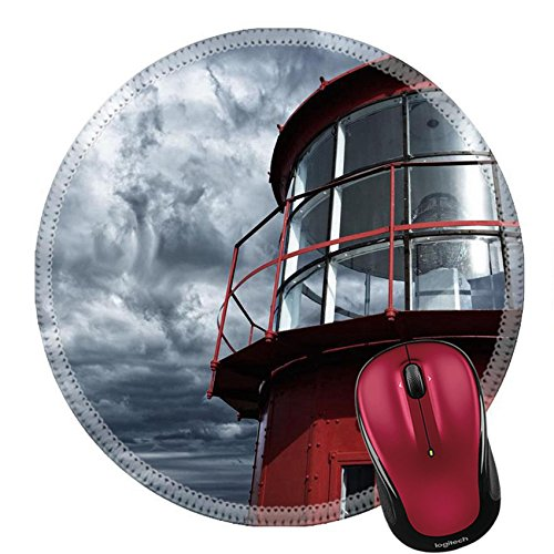 Lighthouse Historic Lamp (Liili Round Mouse Pad Natural Rubber Mousepad Lighthouse against stormy sky IMAGE ID 13679952)