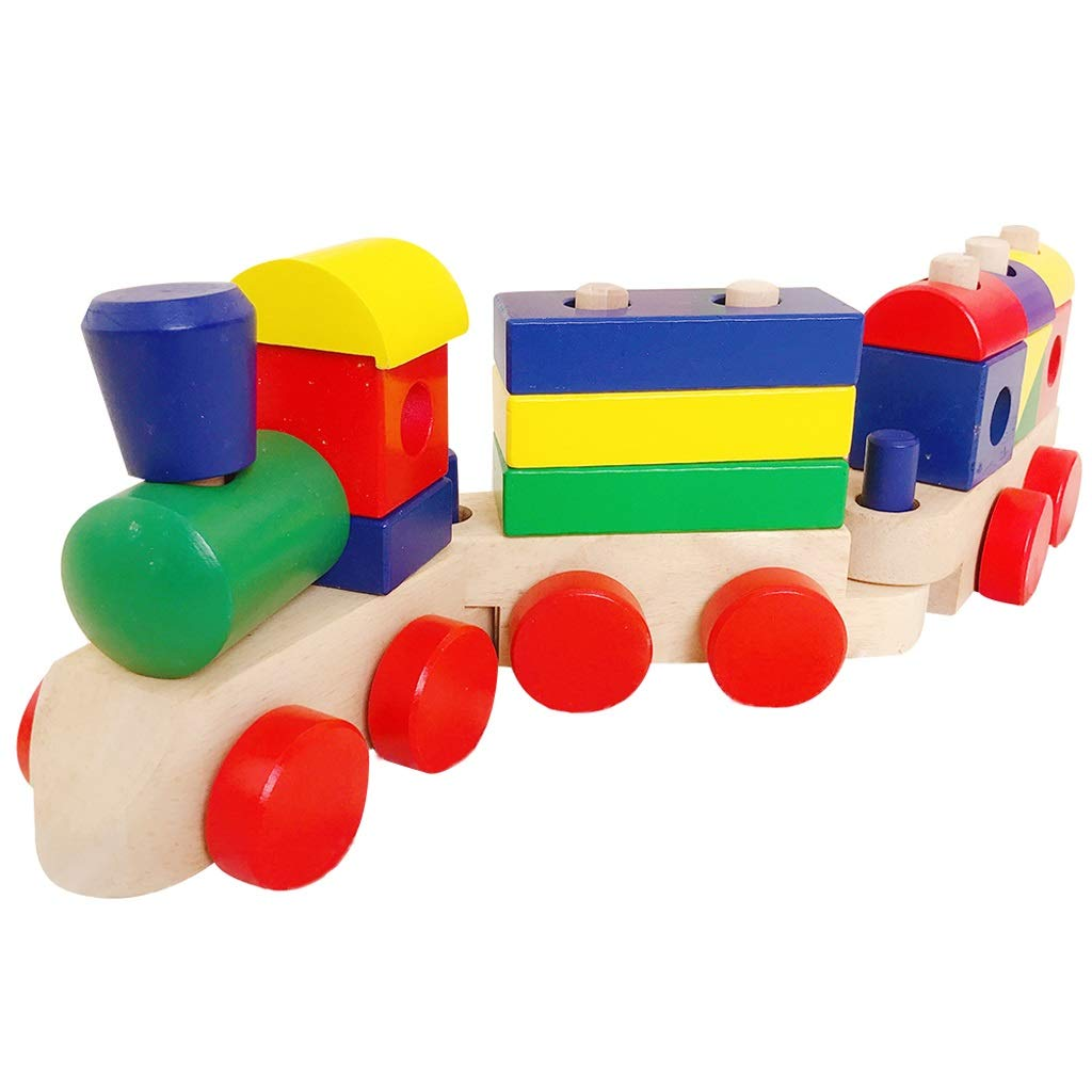 BJLWTQ Wooden Blocks Train Stacking Train Toddler Infant Toy (Size : L)