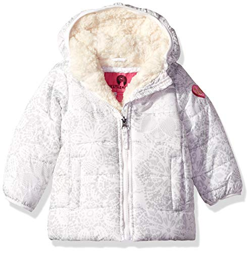 Weatherproof Baby Girls Quilted Jacket with Sherpa Lining, Cream Snow Print 24M