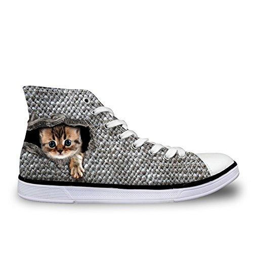 For U Disigns Zapatos De Lona Altos Para Mujeres Con Cordones Ligeros Animales De Fantasía Ladies Zapatillas De Deporte Cat-6