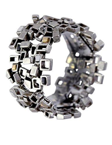 Modernist Modernist Collection - Modernist Collection: Pewter Cubist Stretch Bracelet, Neutral Version
