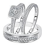 1/2 Carat Round Cut Real Diamond 925 Sterling Silver Matching Trio Wedding Ring Set
