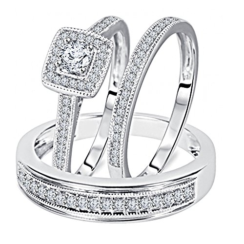 1/2 Carat Round Cut Real Diamond 925 Sterling Silver Matching Trio Wedding Ring Set by omega jewellery