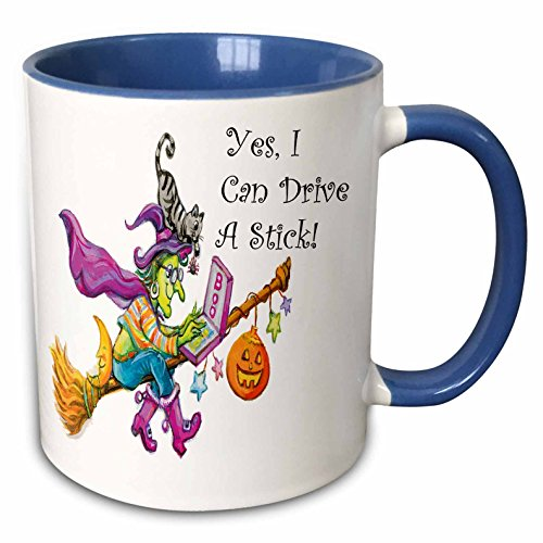 3dRose Anne Marie Baugh - Halloween - Cute Witch Flying Her Groom Says Yes I Can Drive A Stick In Black - 11oz Two-Tone Blue Mug (Cute Halloween Pic)