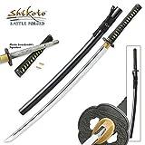 Shikoto Master Handmade Katana / Samurai Sword - Hammer Forged, Clay Tempered T10 High Carbon Steel - Brass Habaki, Menuki - Iron Tsuba, Tea-Dyed Genuine Ray Skin, Traditional Mekugi