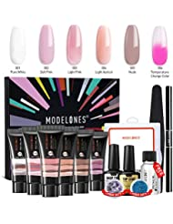 3719caaf7a2 Modelones Poly Nail Gel Kit Enhancement Builder Temperature Color Changing  Acrylic Extension with Slip Solution Trial