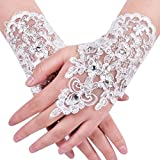 NUOMIQI Bridal Gloves Women's Lace Satin Fingerless Bridal Gloves for Wedding Party (1, Ivory)