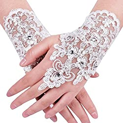NUOMIQI Bridal Gloves Women's Lace Satin Fingerless Bridal Gloves for Wedding Party (1, White)