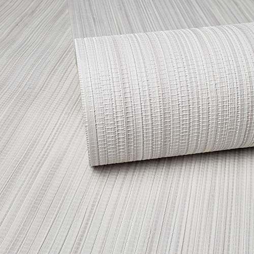 76 sq.ft Rolls Portofino Textured Italian Unique wallcoverings Modern Embossed Vinyl Wallpaper Rustic Off White Gray Cream Faux grasscloth Bamboo Design Textures roll coverings 3D Paste The Wall only