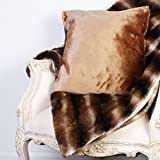 Luxurious Hand Made Faux Fur Throw and Cushion Gift Set- The Ideal Gift Set For A Double Bed Or Sofa For Added Warmth - Throw L214 x W147cm by Dibor - French Style Accessories for the Home