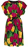 KMystic Women's Cotton Summer Vintage, African, Flower Tunic Dress (Large/XLarge, Tulip)