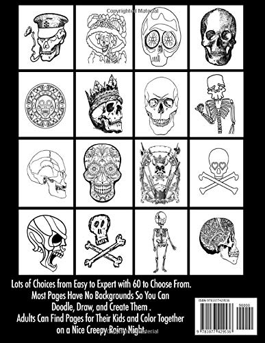 Volume 1 Skulls Skeletons Brains A Rainy Night Coloring Book 60 Coloring Pages of Simple to Detailed Funny to Scary Bones & Stuff