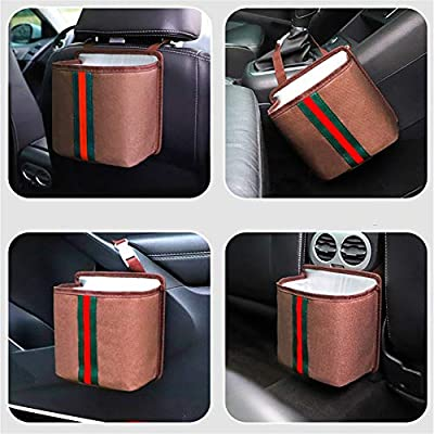 Portable Collapsible Universal Car Trash Bag Hanging with Storage Pockets Waterproof /& Anti-Leakage Garbage Can Yafeco Car Trash Can