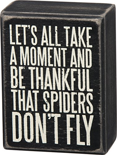 "Primitives By Kathy Box Sign ""Let's All Take a Moment and Be Thankful That Spiders Don't Fly"""