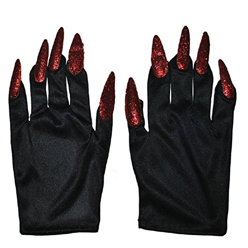 Halloween Costume Witch Nail Gloves, Black with Red Nails, One-Size, 1 Pair]()