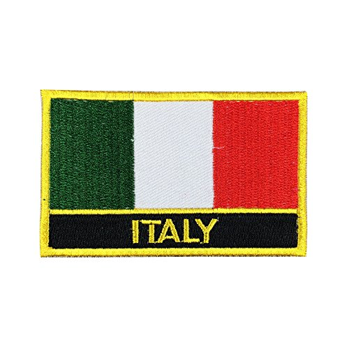 Italy Flag Patch/Travel Patches for Backpacks, Bags, and Clothes (Italian Iron-On w/Words, 2