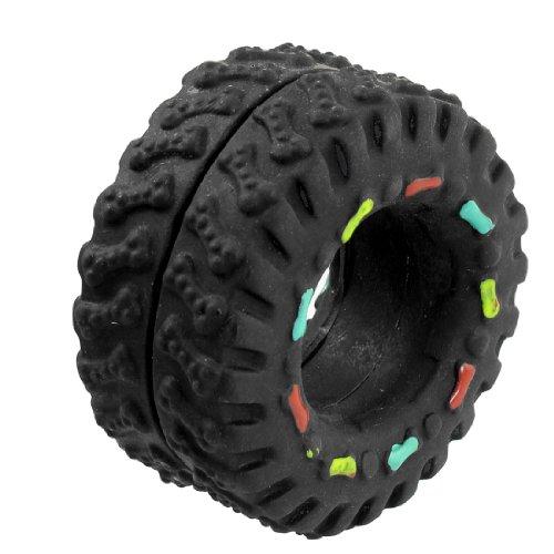 Black Vinyl Rubber Tire Tyre Shaped Bone Pattern Squeaky Dog Cat Pet Toy, My Pet Supplies