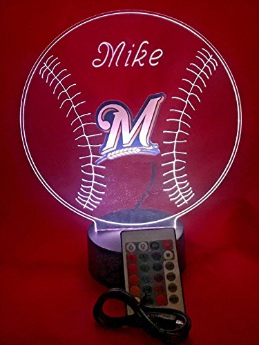 Milwaukee Brewers Led (Brewers MLB Light Up Lamp LED With Remote Personalized Free (Multi-colored, 12 Inches))