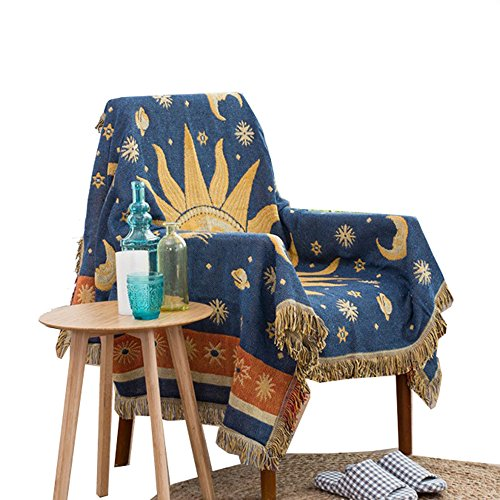 Double Sided Use Sofa Chair Tapestry Couch Throw With Decorative Tassels, 51X70 Inch Couch Cover (Sun Moon Stars) (Pillow Sun)