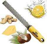 Rummershof Multi Grater (Cheese Grater, Lemon Zester, Parmesan, Ginger, Nutmeg) Stainless Steel Professional Zester (yellow)