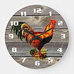 Vintage Rooster Kitchen Wall Clock Non Ticking Silent Small Wood Clock Battery Operated 10 inches