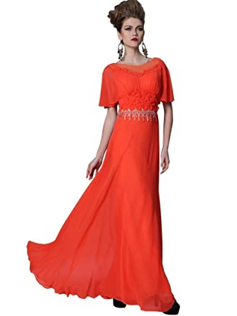 Remedios A-line Orange Prom Dresses With Sleeves with Flowers and Tassel,XXL