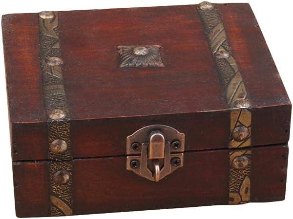 Goodevening Caja De Madera Cofre del Estilo Vintage Hecha A Mano - Cofre Pequeño De Madera, Cinturón