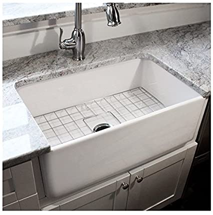 Highpoint Collection 30 Inch Single Bowl Fireclay Ceramic Farmhouse Kitchen  Sink
