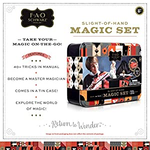 FAO Schwarz 8 Piece Toy Magic Trick Set for Kids, Easy to Learn Kit Comes with Playing Cards, Floating Card Trick, Fake Fingers, Coin and Ball Cups, & Instruction Book with 40+ Tricks, Gift Tin