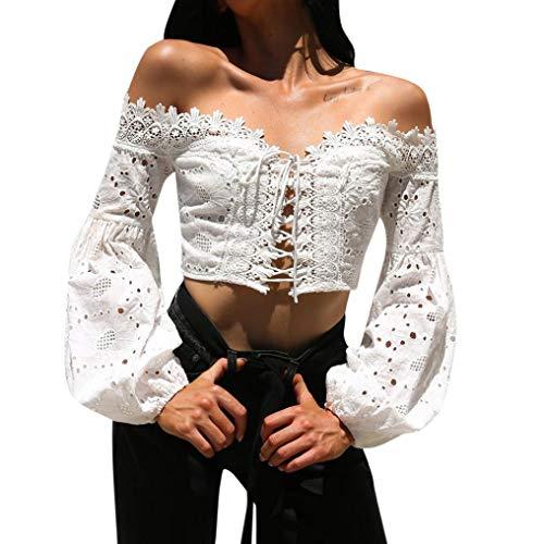Sexy Fleurie Creux Blouse Couleur Coton Blanc Shirt Chemisier Crop Sixcup Dentelle Top T Manche Pure paule Femmes Puff Longue HqPdv1