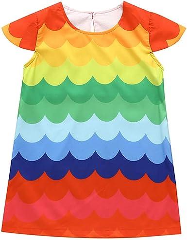 Aini Vestido NiñA, Ropa Bebe NiñA Verano Cuello Redondo De AlgodóN Vestido Arcoiris Estilo Bohemio Linda Falda De Fiesta Vestido ReciéN Nacido Estampado Vestidos De Playa para NiñAs De 0-5 AñOs: Amazon.es: