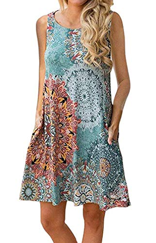 Tshirt Dresses for Women Summer Beach Boho Sleeveless Floral Sundress Pockets Swing Casual Loose Cover Up(Light Blue,S)