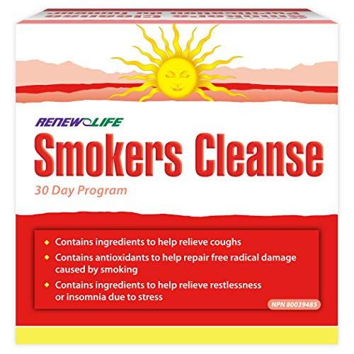 Renew Life - Smokers Cleanse - Body Cleanse and Support Supplement - 60 chewable Tablets - 30 Day Program