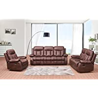 Betsy Furniture 3-PC Microfiber Fabric Recliner Set Living Room Set in Brown, Sofa Loveseat Chair Pillow Top Backrest and Armrests 8028-321
