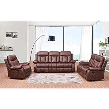 Betsy Furniture 3 PC Microfiber Fabric Recliner Set Living Room In Brown Sofa Loveseat Chair Pillow Top Backrest And Armrests 8028 321