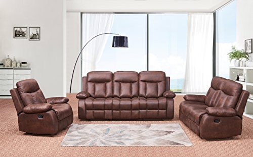 Loveseat Set Furniture - Betsy Furniture 3-PC Microfiber Fabric Recliner Set Living Room Set in Brown, Sofa Loveseat Chair Pillow Top Backrest and Armrests 8028-321