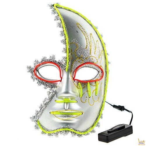 Horror Venetian Sparkle Halloween Half Face Mask - 2 Color LED Festival (Two Face Costume Mens)