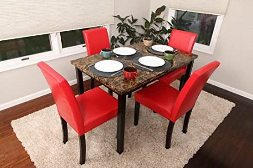 5 PC Thick Marble Red Leather 4 Person Table and Chairs red Dining Dinette - Red Parson Chair 150250 Red