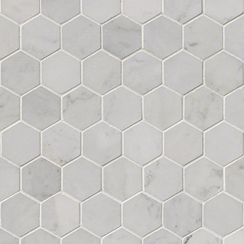 MS International SMOT-CAR-2HEXP Carrara White Hexagon Polished Mosaic Tiles, 2'' by MS International