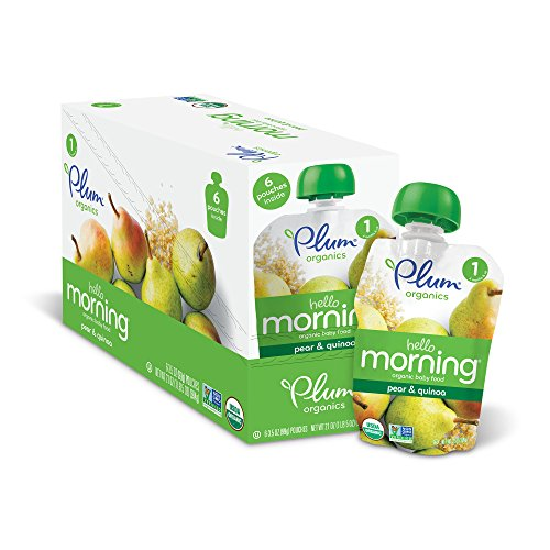 Plum Organics Hello Morning, Organic Baby Food, Pears & Quinoa, 3.5 ounce pouch (Pack of 12)