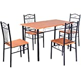 Tangkula Steel Frame Dining Set Table and Chairs Kitchen Modern Furniture Bistro Wood New