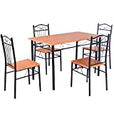 Kitchen Table Sets Tangkula Steel Frame Dining Set Table and Chairs Kitchen Modern Furniture Bistro Wood