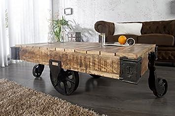 DuNord Design Couchtisch Holz Massiv Wagen LORRY Wohnzimmertisch Industrie  Design Sofatisch 120cm Mangoholz Massiv Massivholz Sofatisch