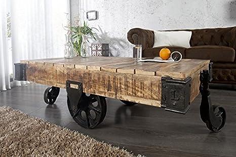 DuNord Design Couchtisch Holz Massiv Wagen LORRY Wohnzimmertisch Industrie  Design Sofatisch 120cm Mangoholz massiv Massivholz Sofatisch handarbeit