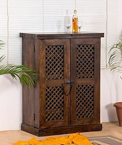 SS WOOD Furniture Wooden Stylish Brown Bar Cabinet with Wine Glass Storage(90 * 50 * 123) cm